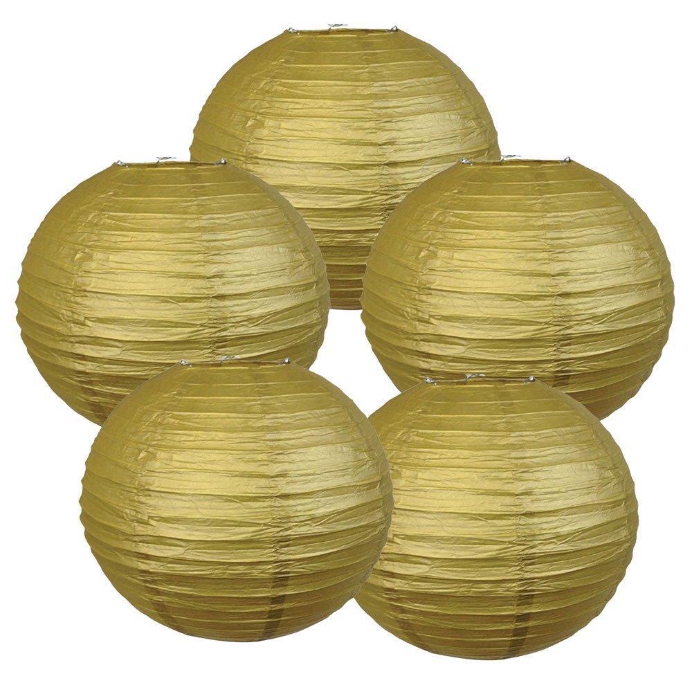 Just Artifacts ペーパーランタン5点セット - (6インチ - 24インチ) 14inch AMZ-RPL5-140005 B01CEXANDY 14inch|ゴールド ゴールド 14inch