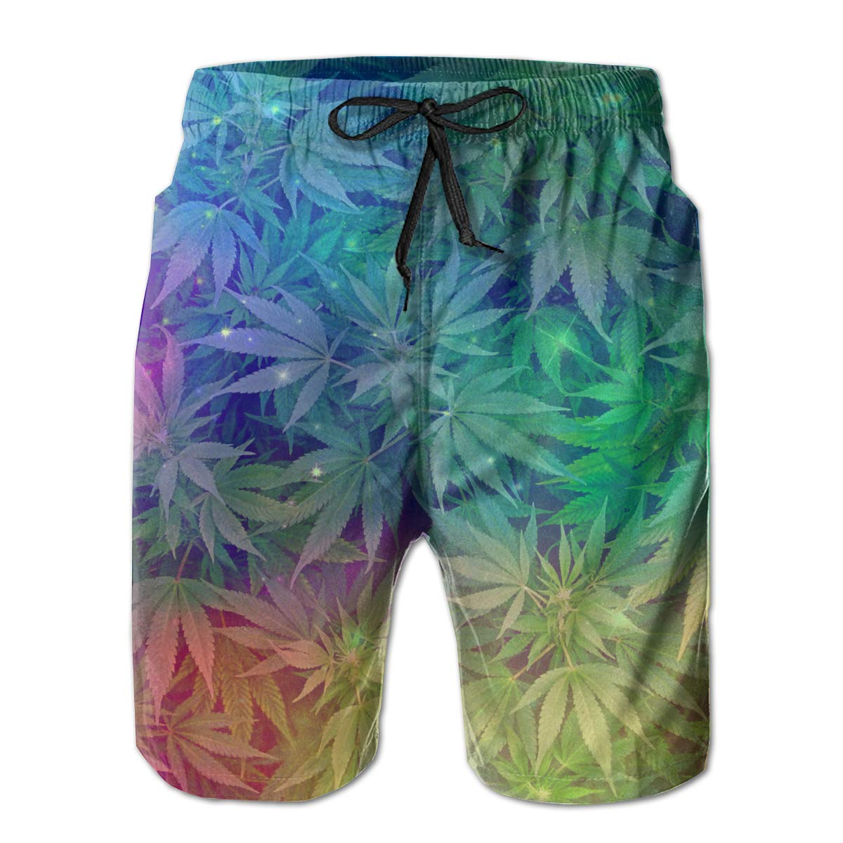 White RolandraceGalactic Nebula Cannabis Weeds Men's Swim Trunks Quick Dry Bathing Suits Beach Holiday Party Board Shorts