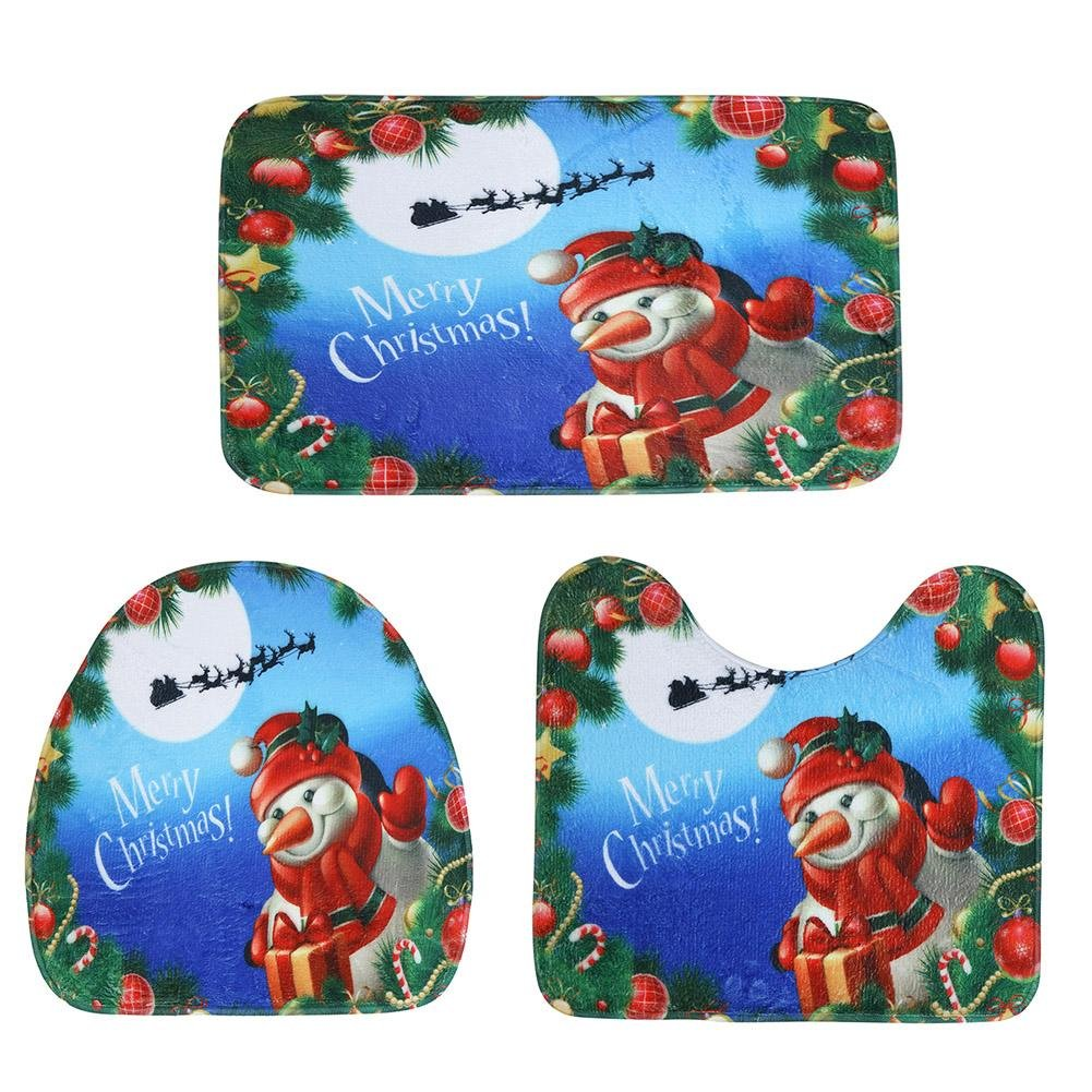3pcs Christmas Printing Toilet Seat Cover Bathroom Mat Xmas Decor (Snowman) MKChung