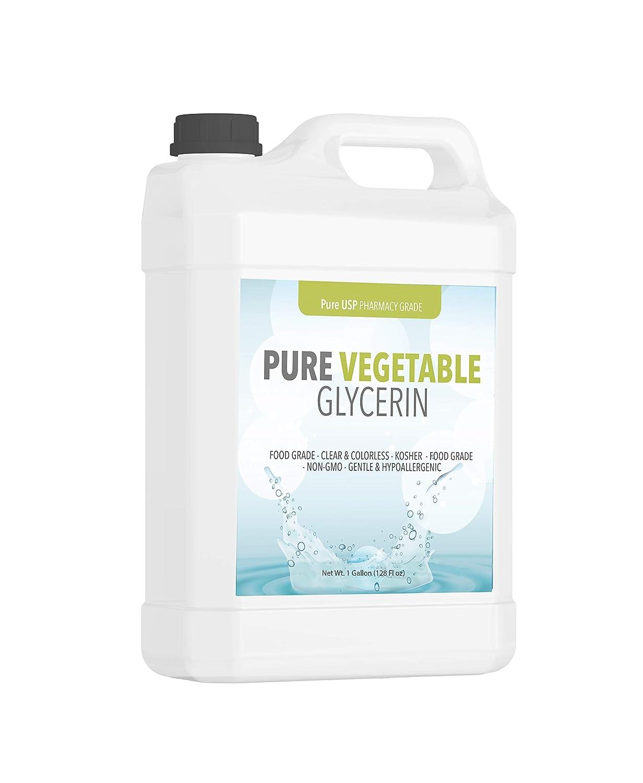 PURE Vegetable Glycerin (1 Gallon), Food Grade, Vegan, Hypoallergenic Moisturizer and Skin Cleanser