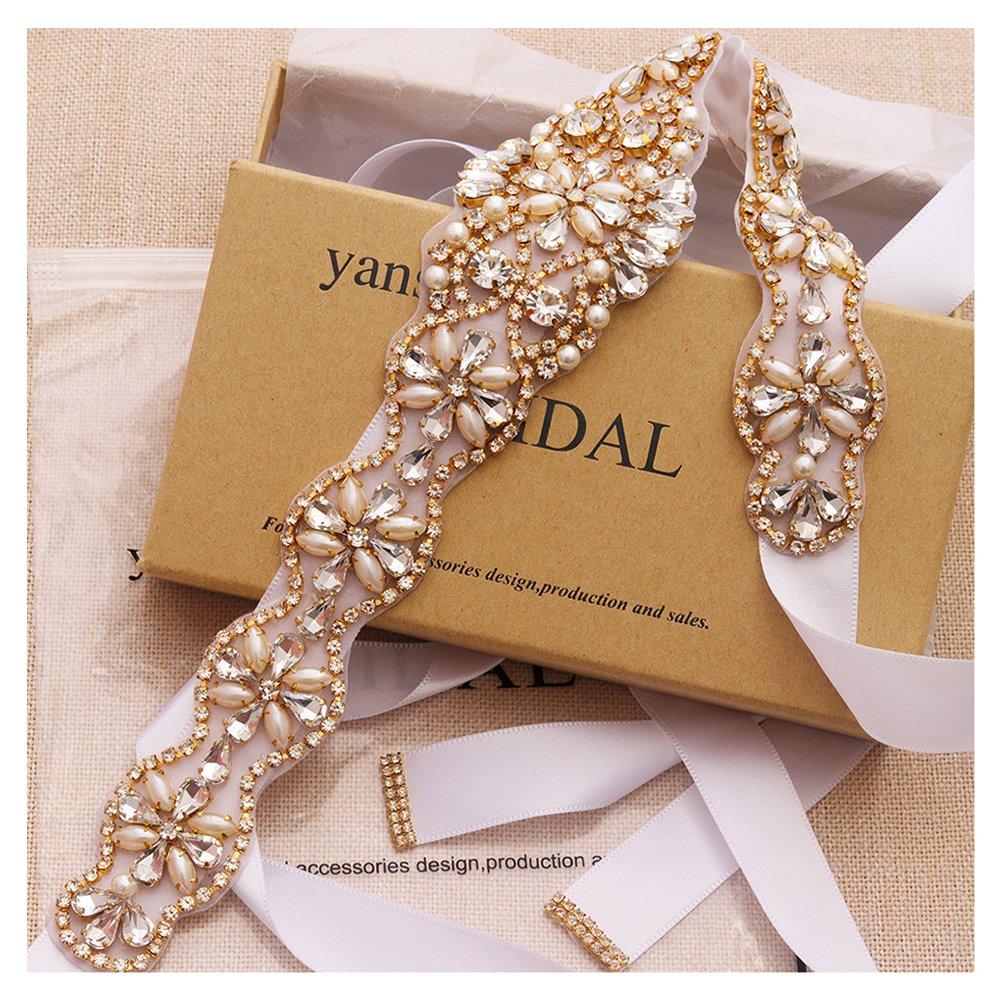 Yanstar Wedding Bridal Belt With Silver Rhinestone Navy Blue Ribbon Sashes For Wedding Gown