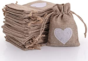 50pcs Burlap Bags with Drawstring Gift Pouches Heart Candy Jewelry Storage Package Sack for Wedding Bridal Shower Birthday Party Christmas Valentine's Day Favors DIY Craft, Natural 5.3x3.8 Inch