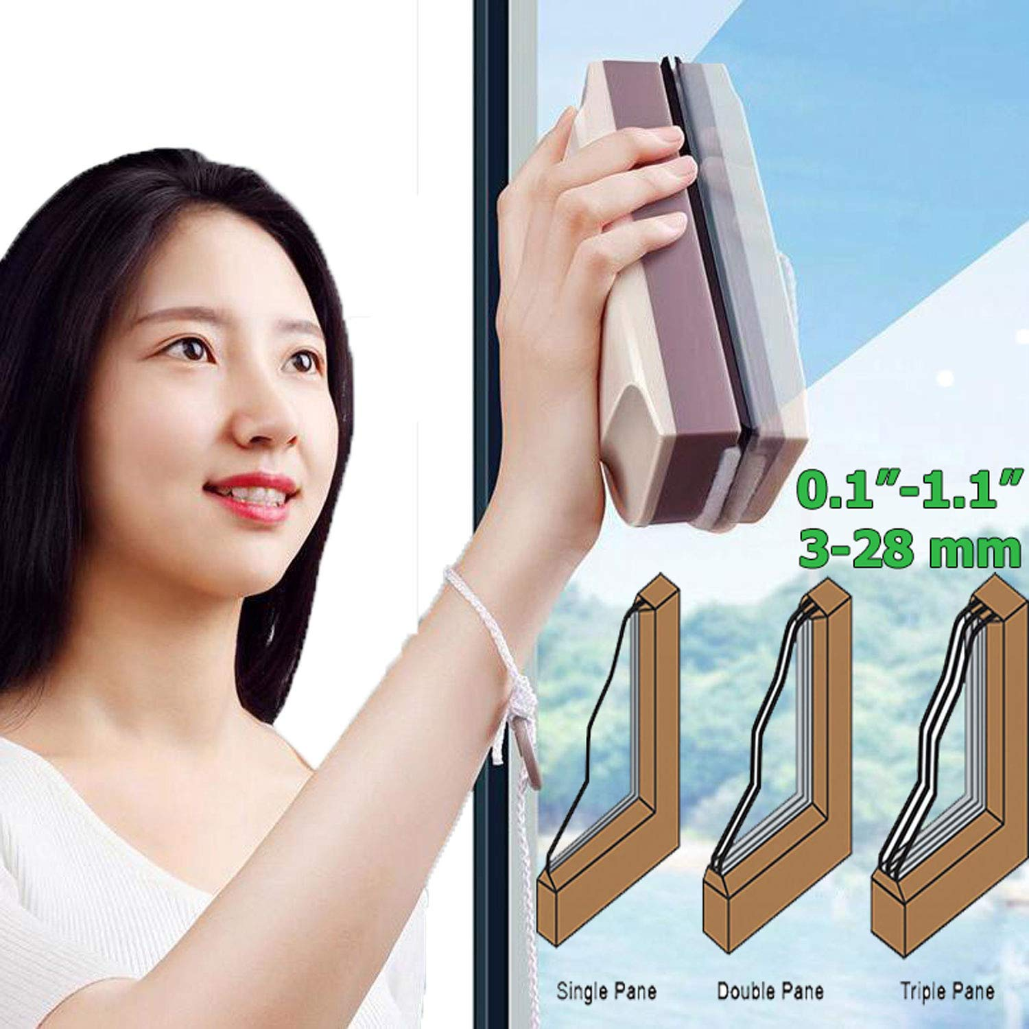 A&J Clean Super Magnetic Window Cleaner Up to Triple Glazed Windows 3-28mm Thickness Glass Window Cleaning Internal and External simultaneously by A&J Clean