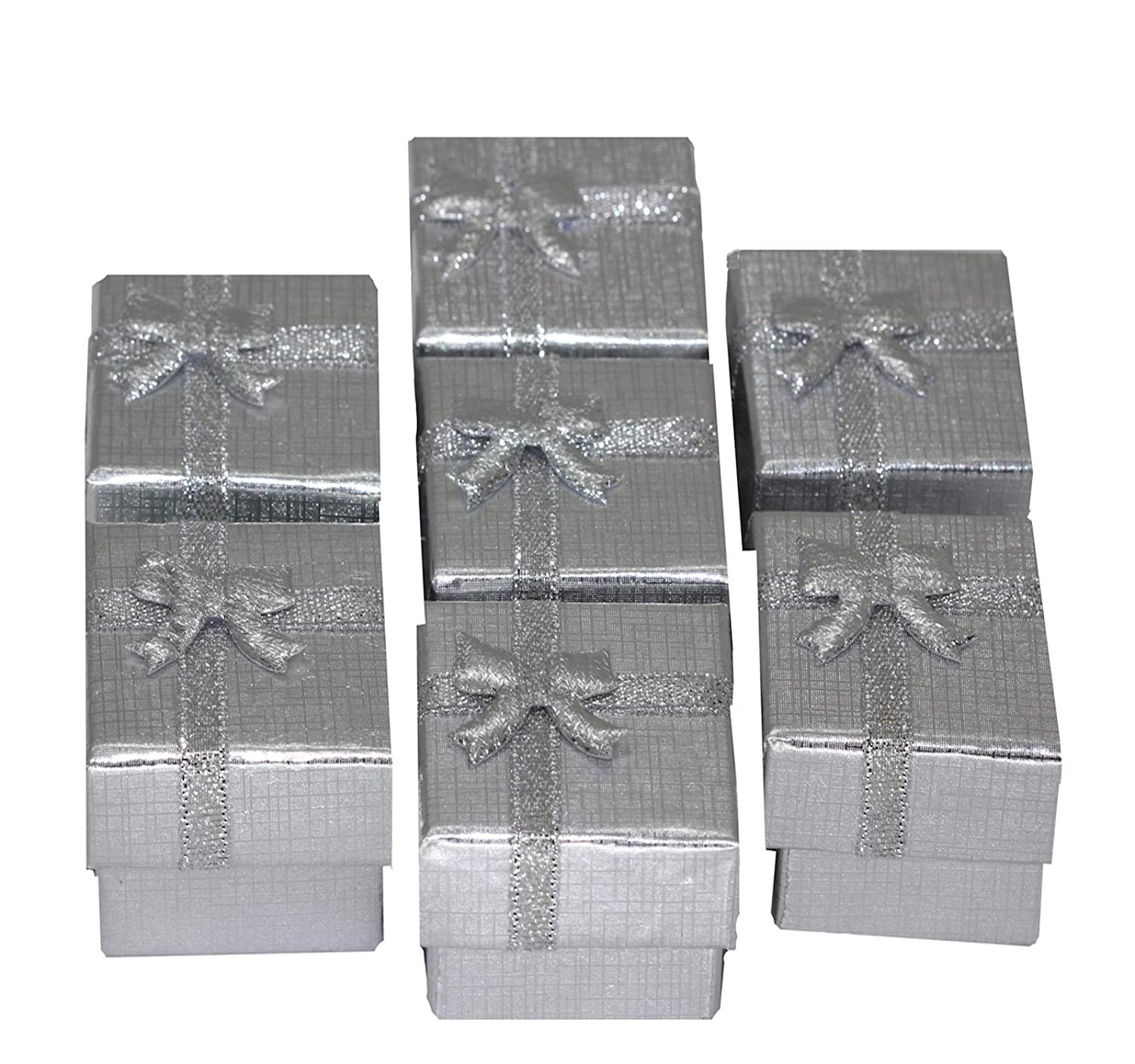 Bulk Lot 20 Pcs Silver Square Jewelry Ring Gift Cardboard Boxes | Earring Box with Bowknot ReFaXi