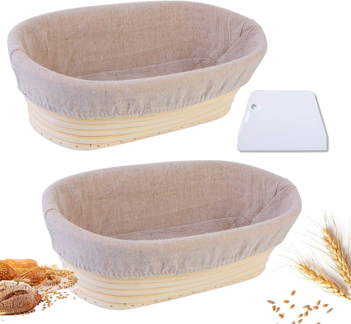 Heflashor 2 Set 10 Inch Bread Banneton Proofing Basket - Baking Dough Bowl Gifts Bread Dough Proofing Rising Rattan for Bakers Proving + 2 Cloth Covers + 2 Dough Scrapers