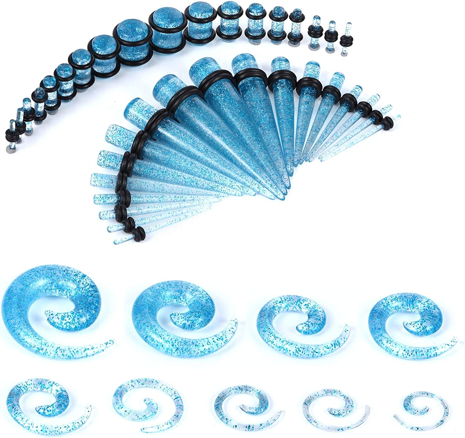 BodyJ4You 54PC Gauges Kit Ear Stretching 14G-00G Glitter Spiral Tapers Plugs Body Piercing Set