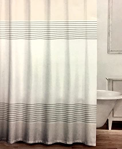 CARO Home Fabric Shower Curtain Wide Light Gray White And Metallic Silver  Grey Stripes