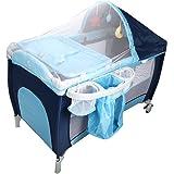 COSTWAY Babybett Reisebett Klappbett Babyreisebett Kinderbett Kinderreisebett Laufstall + Wickelauflage mit Schaukelfunktion