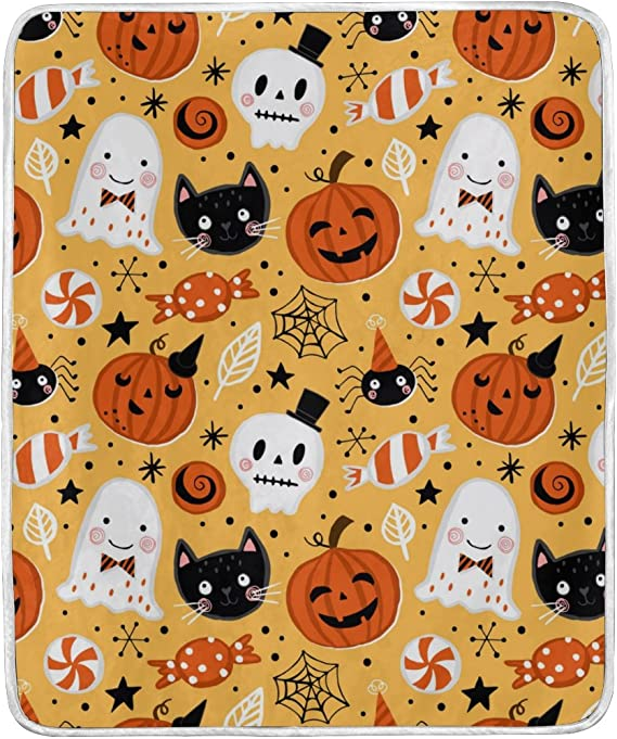 When Witches Go Riding And Black Cats Are Seen Halloween Fleece Blanket 50x60x80