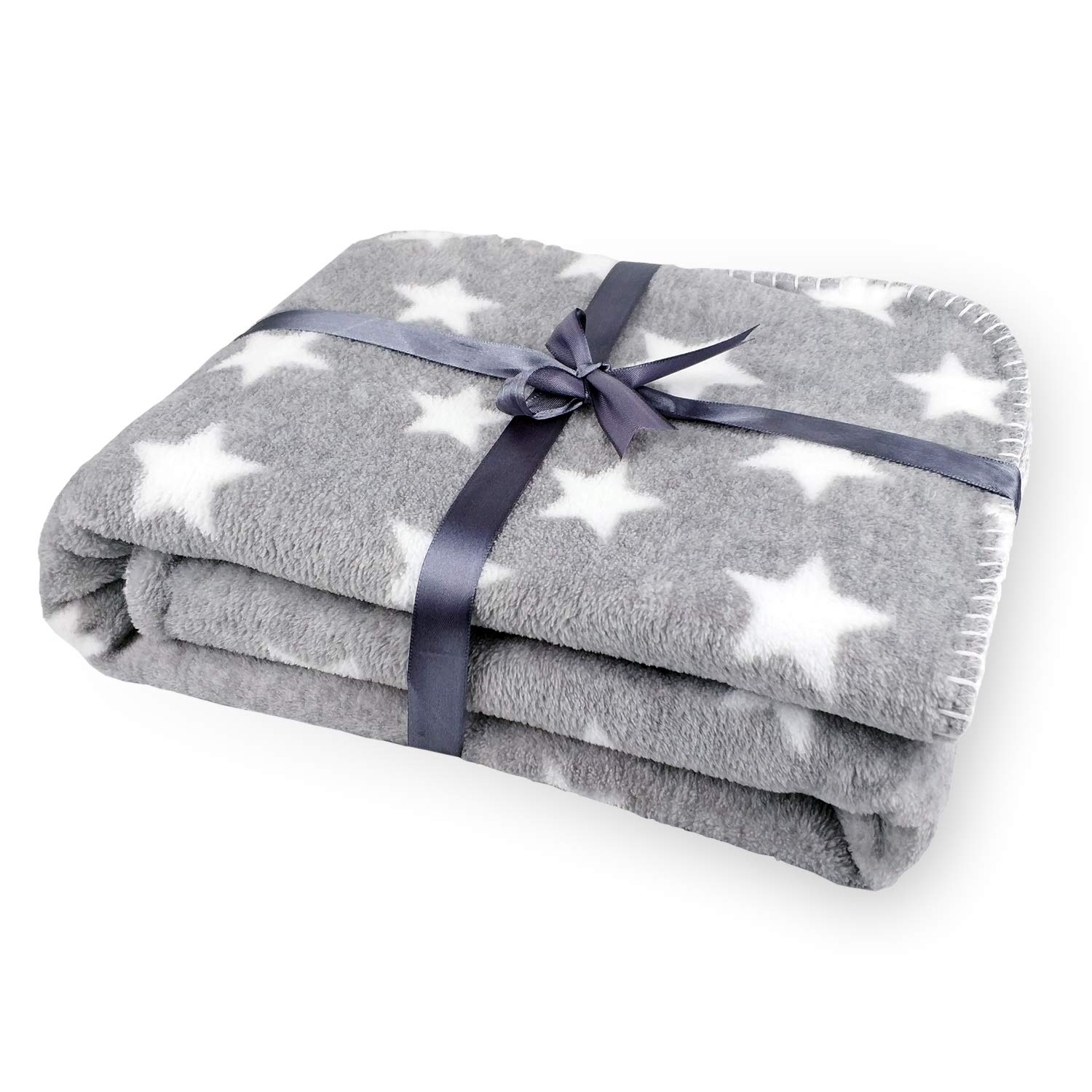 Luxury Thick Baby Flannel Blanket, 75 x 100cm Plush Extra Soft and Warm Fleece, Double Layers Infant Blanket for Pram or Crib Newborn (Grey Bear) Zebrum