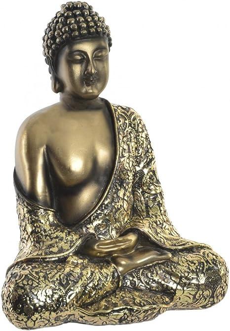 Hogar y Mas Figura de Buda Sentado de Color Dorado para jardín o Zona de relajación. WABI Sabi 16x20.5 cm: Amazon.es: Hogar