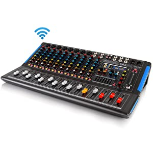 12-Channel Bluetooth Studio Audio Mixer - DJ Sound Controller Interface with USB Drive for PC Recording Input, RCA, XLR Microphone Jack, 48V Power, For Professional and Beginners - Pyle PMXU128BT