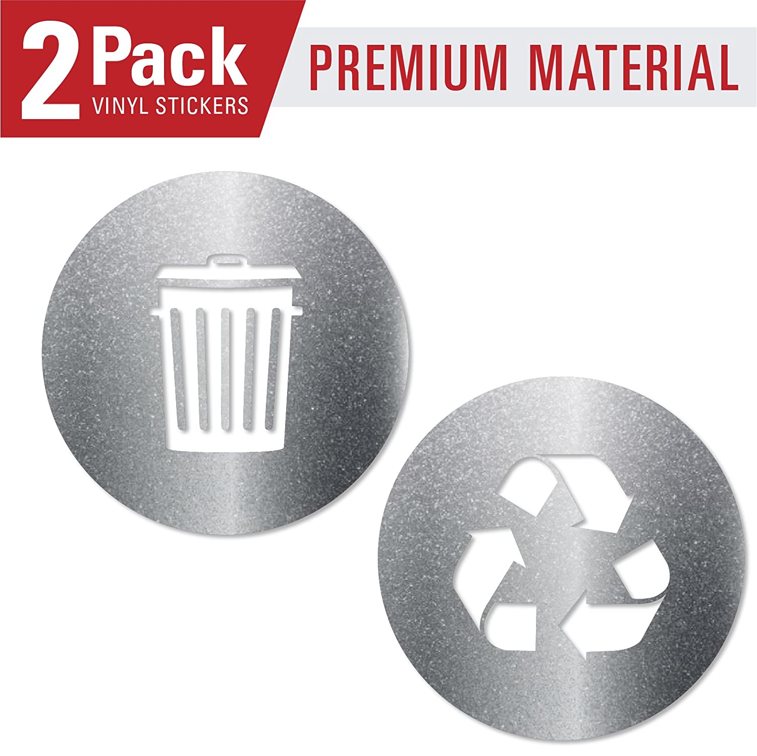 Recycle and trash sticker vinyl modern logo 2 75 x 2 75 1 ea symbol to organize trash cans or garbage containers and walls xsmall ultra metallic