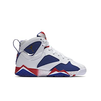 huge selection of cbbab fd99e Jordan Air 7 Retro BG Olympic Tinker Alternate Big Kid's Shoes White/Deep  Royal Blue/Fire Red/Metallic Gold Coin 304774-123 (5.5 M US)