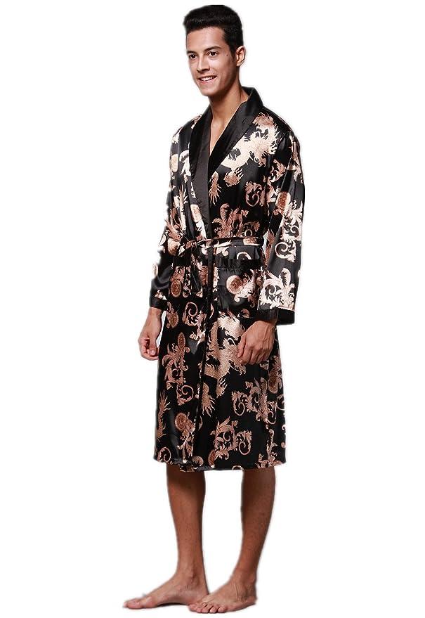 VERNASSA Mens Satin Robe Silk Long Sleeve Kimono Bathrobe Sleepwear  Loungewear at Amazon Men s Clothing store  2241eed16