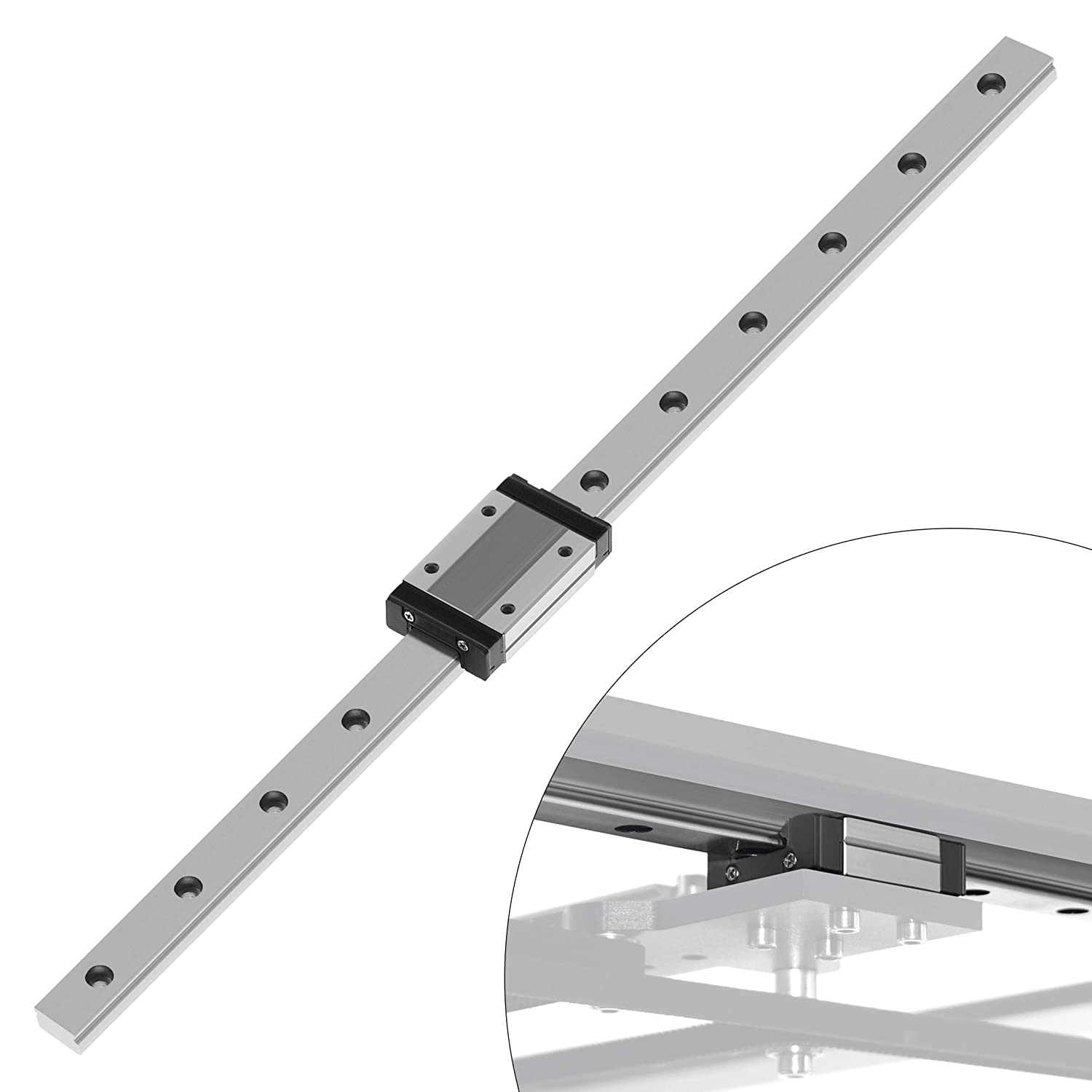 Twotrees MGN9C 300mm Linear Sliding Guideway with 1pcs Linear Bearing Sliding Block for 3D Printer and CNC Machine C-Type,Black