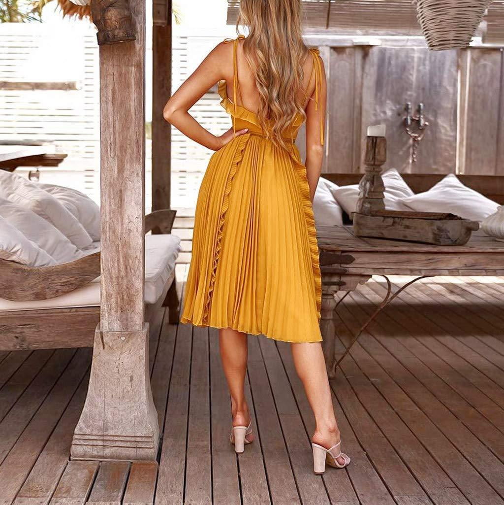 Ultramall Dresses for Women Party Wedding Knee Length Off-Shoulder Ruffles Sleeveless Mini Princess Dress(Yellow,L) by Ultramall (Image #3)