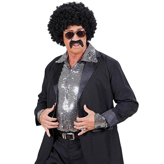 Set costume agente: parrucca con capelli ricci occhiali da sole e baffi 5aBjP9sN
