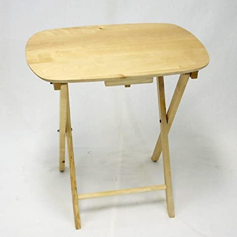 EHemco Oversized Folding Tv Tray Tv Table   Solid Hard Wood In Natural