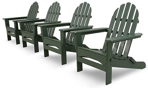 Ivy Terrace IVS104-1-GR Classics 4-Piece Folding Adirondack Conversation Set, Green
