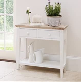Florence Console Table. Sturdy White Console Table With 2 Dravers And  Shelf. Solid Brushed