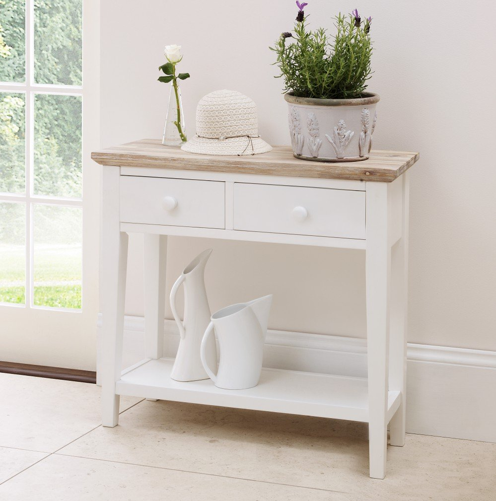 florence console table sturdy white console table with  dravers  - florence console table sturdy white console table with  dravers andshelf solid brushed acacia top quality amazoncouk kitchen  home