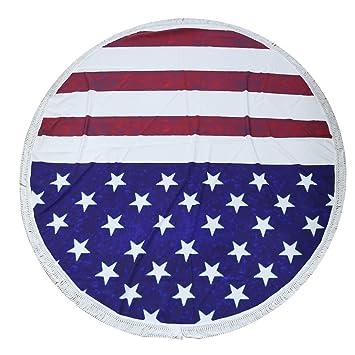 A-szcxtop Ronda toalla de playa impreso bandera de Estados Unidos estilo manta toalla playa manta con flecos Perfecto para al aire libre casa Yoga Mat: ...