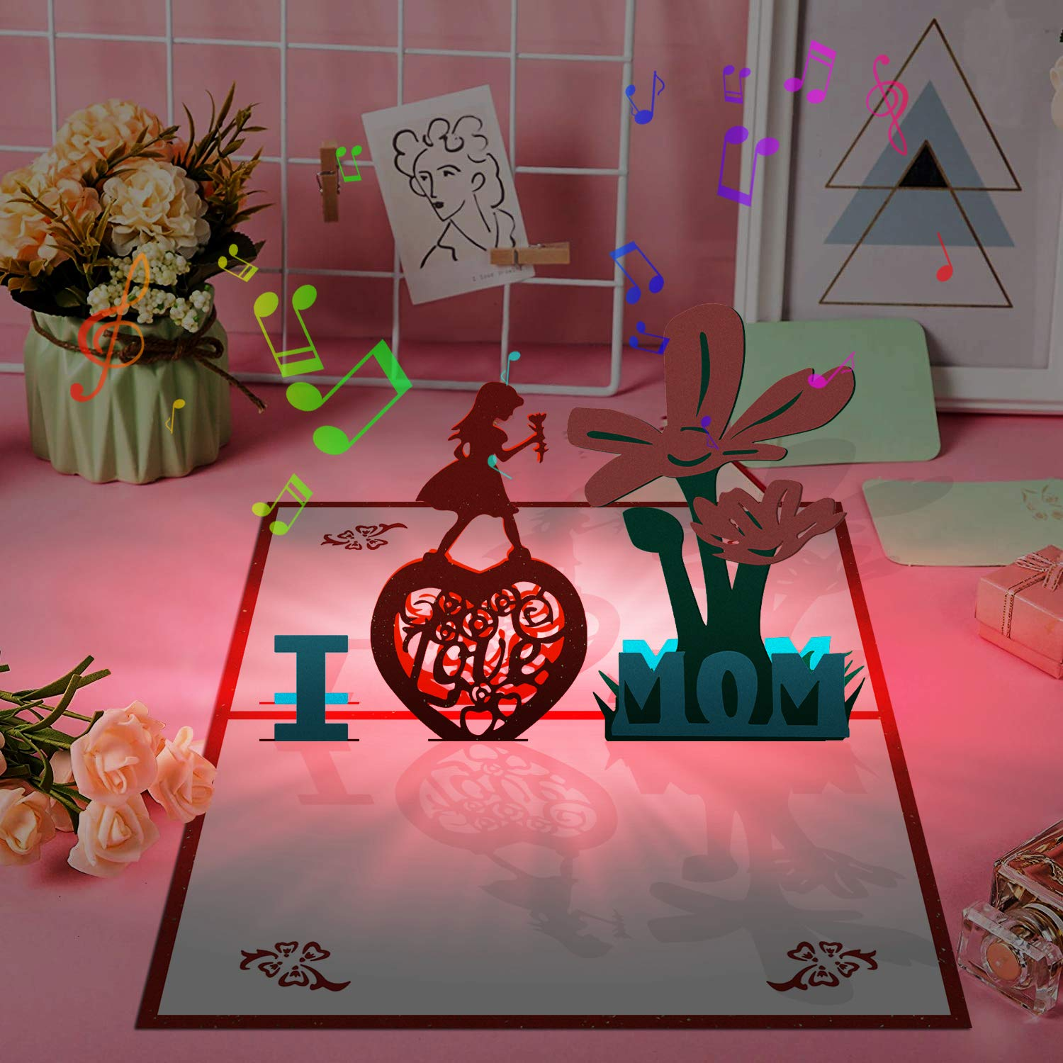 3D Pop Up Card with Lights and Music Greeting Cards for Mothers