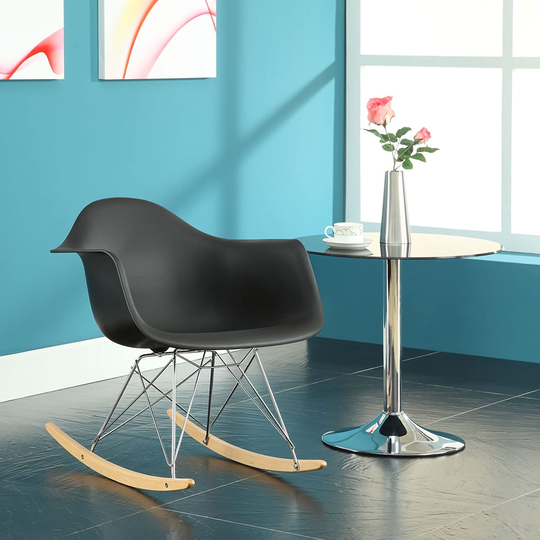 Rar rocking chairs eames style rar rocking arm chair grey - Amazon Com Modway Molded Plastic Armchair Rocker In Black Kitchen Dining