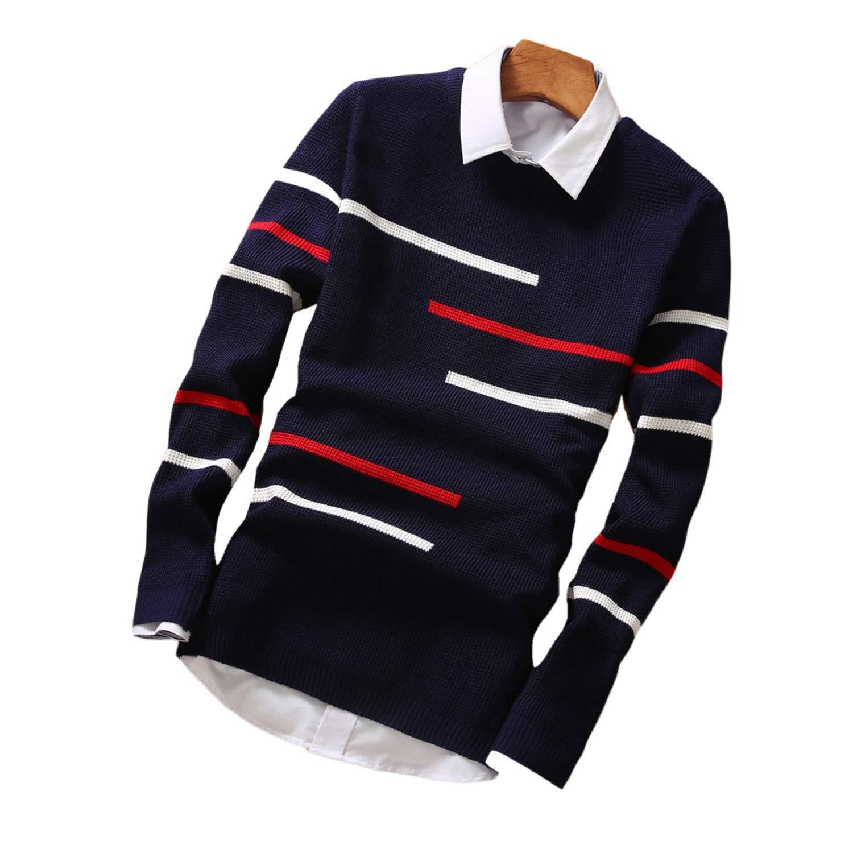 Cyose Popular Mens Sweaters Wool Pullover Men Casual O-Neck Dot Pattern Long Sleeve Male M-2XL