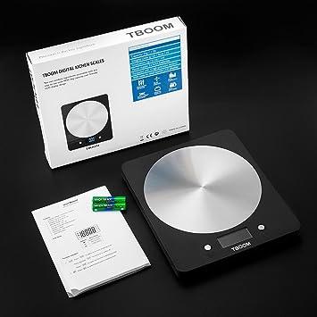 TBOOM Escala del alimento de cocina digital de cocina Balanza electrónica con pantalla LCD, Gram precisos y el diseño delgado (negro): Amazon.es: Hogar
