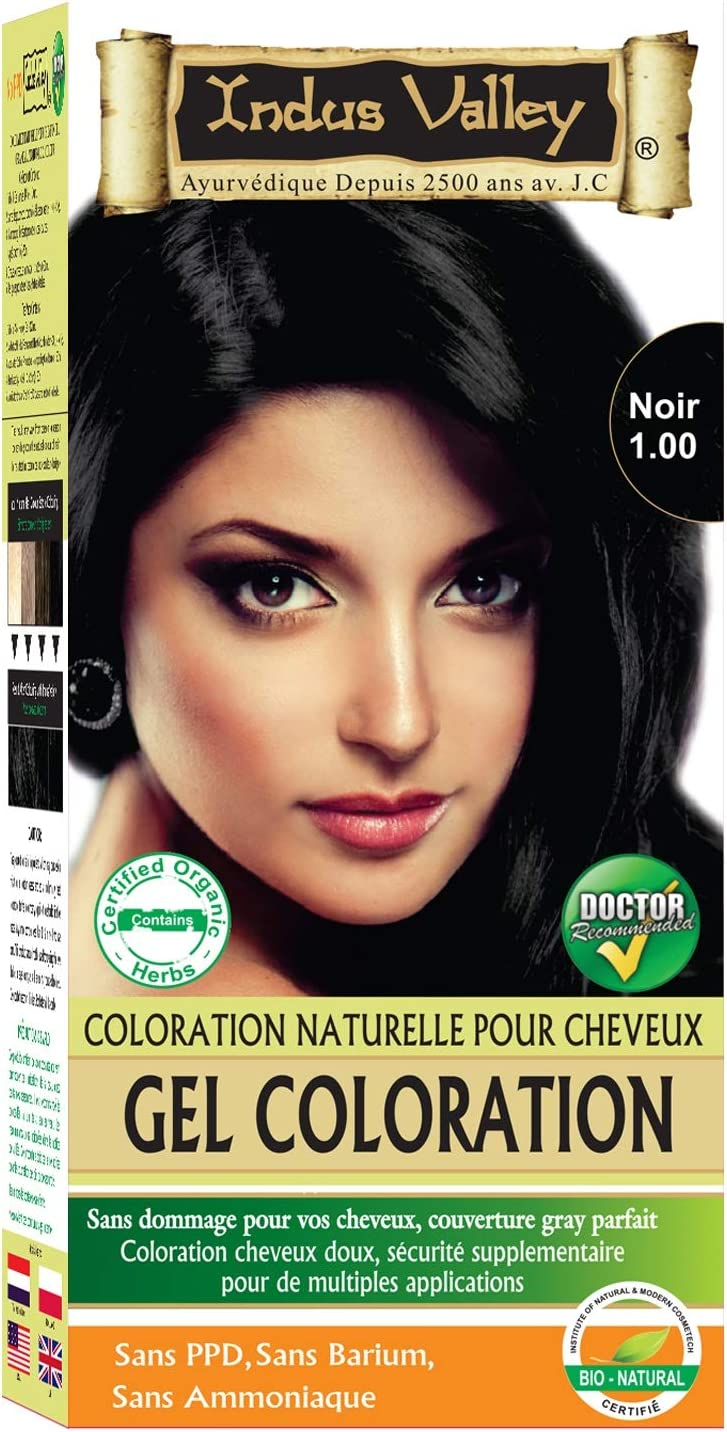 Indus Valley negro gel cabello tinte colorante kit 1,0