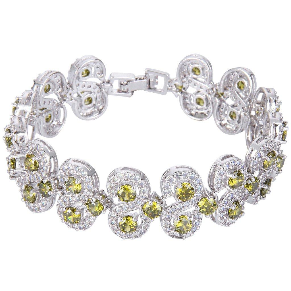 EVER FAITH Silver-Tone CZ Birthstone Vinstage Style Art Deco Roman Tennis Bracelet