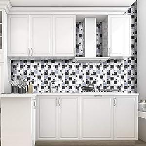 "12-Sheet 10""x10"" 3D Wall Panels Backsplash Subway Marble Design Vinyl Peel and Stick Wall Sticker Imitation Tiles for Bathroom Kitchen Livingroom (6 Sheet)"