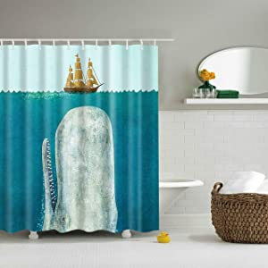 Bartori Shower Curtain with 12pcs Hooks A Huge Whale Under The Ocean Will Attack The Ship on The Sea Cartoon Style Waterproof Polyester Fabric Bath Curtain with Size 71''X71'' …