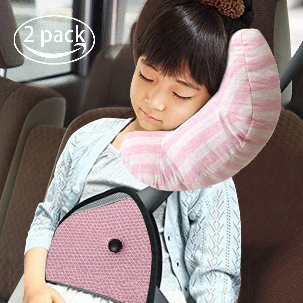 RSPrime Children Shoulder Protect Pillows Seat belt Pads, Adjustable for Kids Safety, Soft Neck Sleep Pillow for Children Comfort Brown