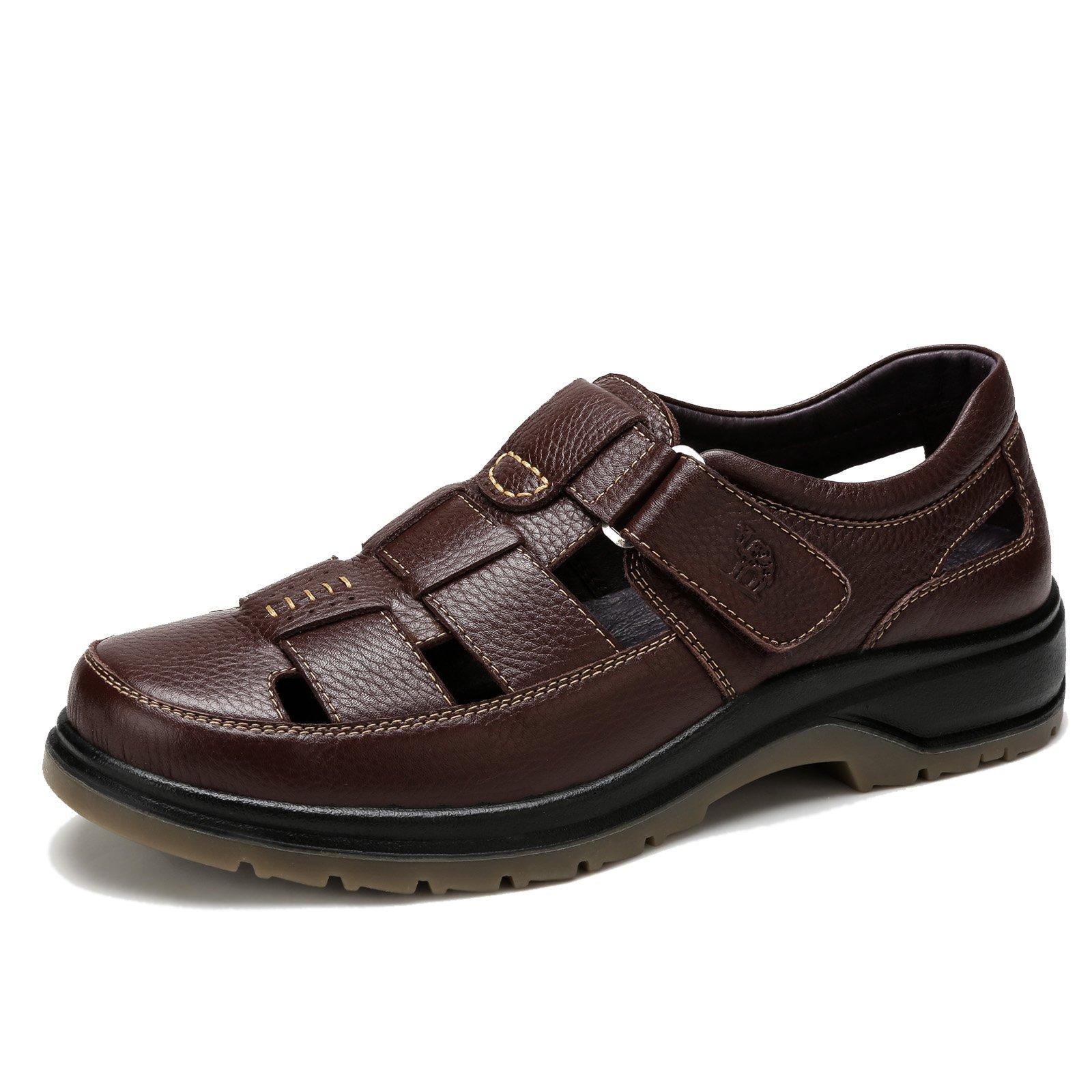 Camel Men's Fisherman Sandals Leather Breathable Close-Toe Sandal Non-Slip Adjustable Absorbing Outdoor Sports Sandals, Brown 260mm