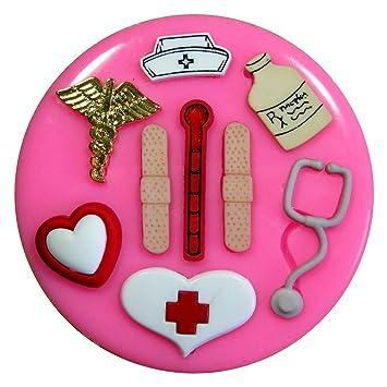 Consiga bien pronto - enfermera / médico médico Molde de silicona para la torta de Decoración Pastel de Cupcake Toppers Glaseado Sugarcraft Tool por Fairie ...