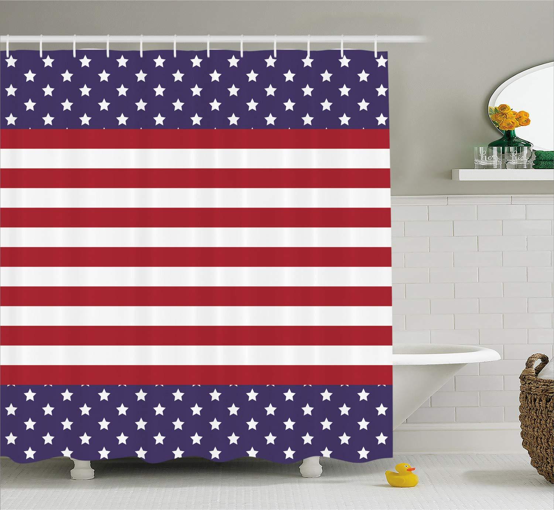 USA memorial day Bathroom Shower Curtain Waterproof Fabric w//12 Hooks 71*71inch