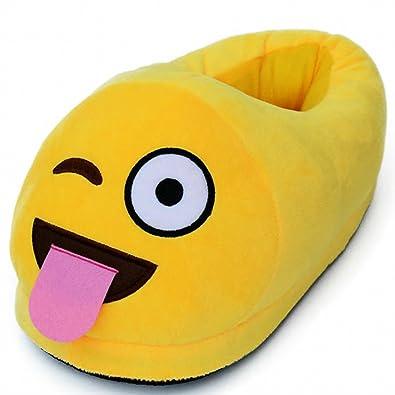 9a18c148a4ebdc Dreampartydress Cheeky Langue Dehors Smiley Emoji Taille 3–5 Saint Valentin  Fantaisie Pantoufles en Peluche