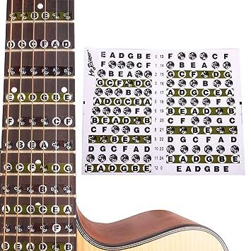 Peretón de Guitarra Pegatina Mapa notas de trastes para Guitarra Eléctrica Acústica.: Amazon.es: Instrumentos musicales