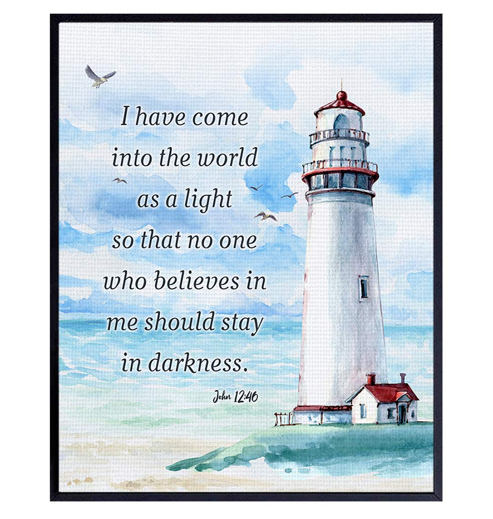 Nautical Seaside Lighthouse Christian Wall Art - Religious Scripture Bible Verse Gift - Ocean Home Decoration, Bathroom Wall Decor - Print for Beach House, Restroom, Living Room, Bedroom - Blue