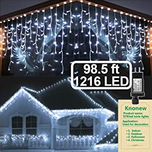 KNONEW LED Icicle Lights, 98.5ft, 1216 LED, 8 Modes, Curtain Fairy Light Clear Wire LED String Decor for Christmas/Thanksgiving/Easter/Halloween/Party Backdrops Decorations (Cool White)