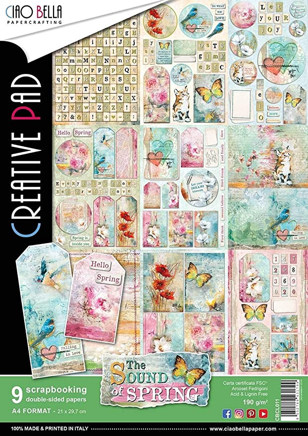 9 Designs//1 Each Ciao Bella Double-Sided Creative Pack 90lb A4 The Seventies