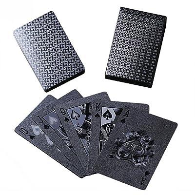 Dreameryoly Cartas de póquer de plástico Mate Negro Cartas Impermeables de Pet para Juegos de Mesa Lista del Paquete: 1 Juego de Cartas: Hogar