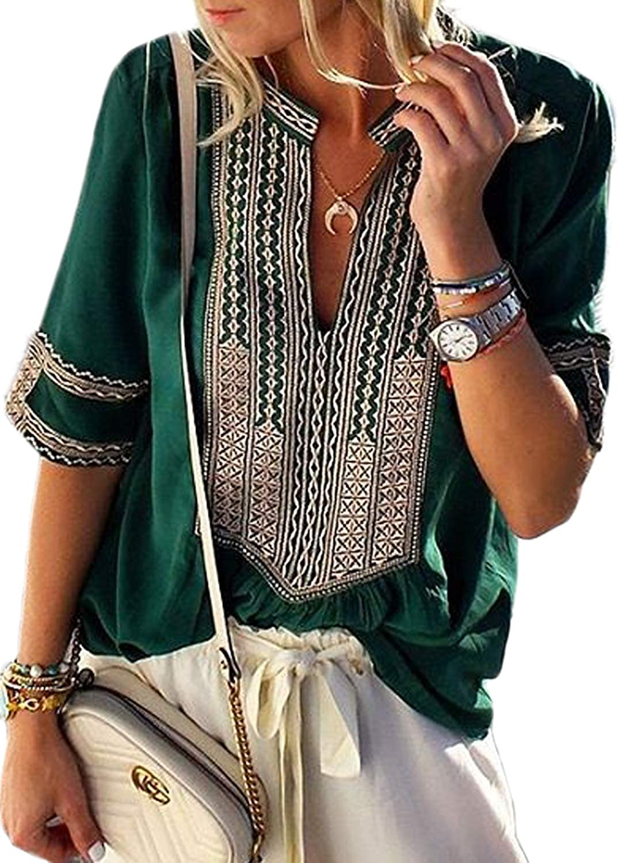 B07PG4J22Z FARYSAYS Women's Summer Boho Embroidered V Neck Short Sleeve Casual T-Shirt Tops Loose Blouse 71MNxSydgmL