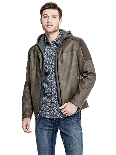 GUESS Factory Mens Clint Faux-Suede Moto Jacket at Amazon Mens Clothing store: