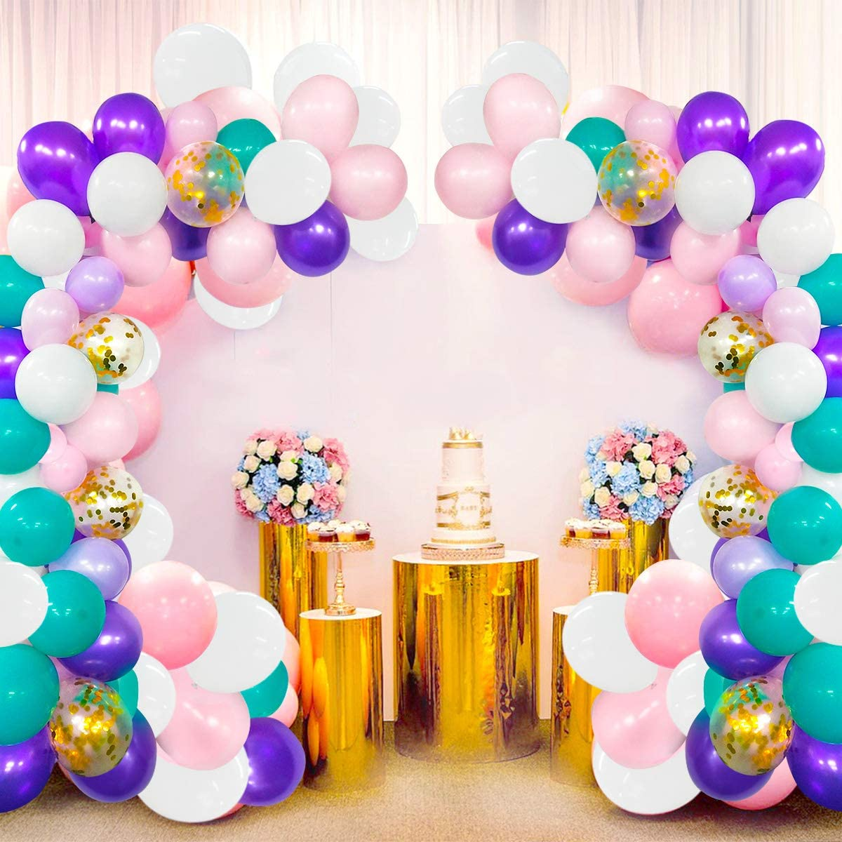 Unicorn Balloons Garland Kit 118 Pcs Purple Pink Blue White Assorted Latex Balloons Baby Shower Unicorn Party