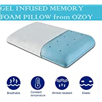 Ozoy Cool Gel Infused Memory Foam Orthopedic Neck Support Cooling Pillow with Cover for Neck Back Cervical Pain