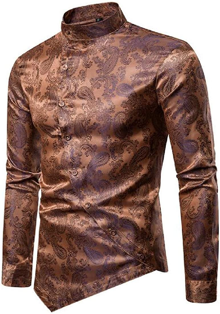 Rrive Mens Irregular Button Up Long Sleeve Paisley Printing Dress Shirts